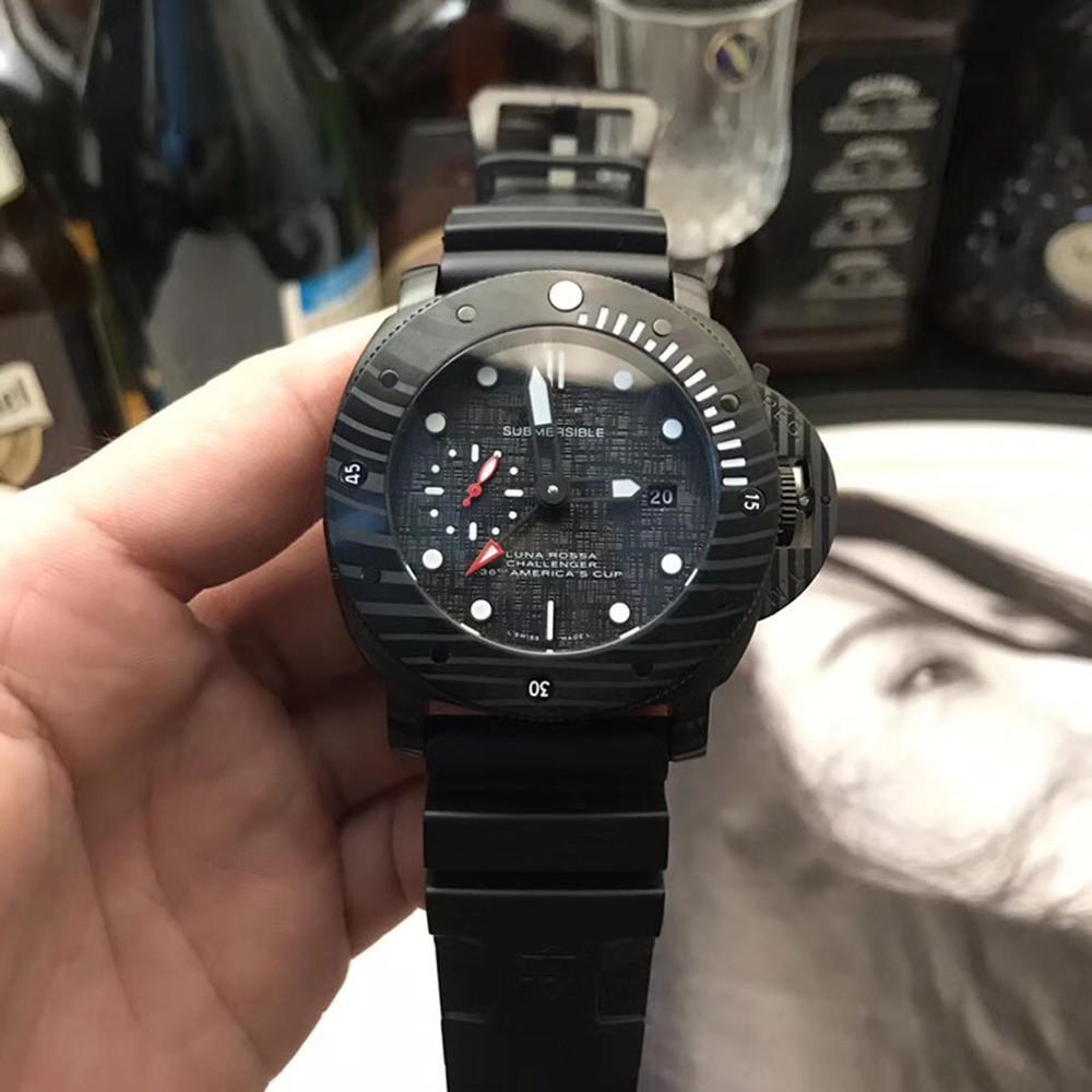 Горячие Продажа Мужские часы класса люкс Механические Luminous Наручные часы черный силиконовый ремешок Мода Погружные LUNA LUXURY 47мм Наручные часы