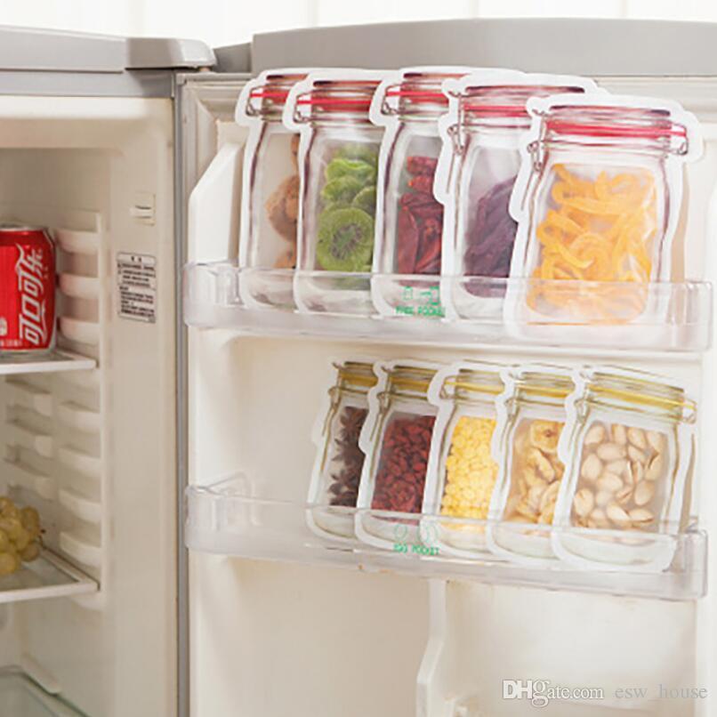 Контейнер для пищевых продуктов Mason Jar Пластиковые безопасные молнии Сумки для хранения Многоразовые экологически чистые закуски Сумка Пластиковые мешки для хранения Запах Доказательство Клип
