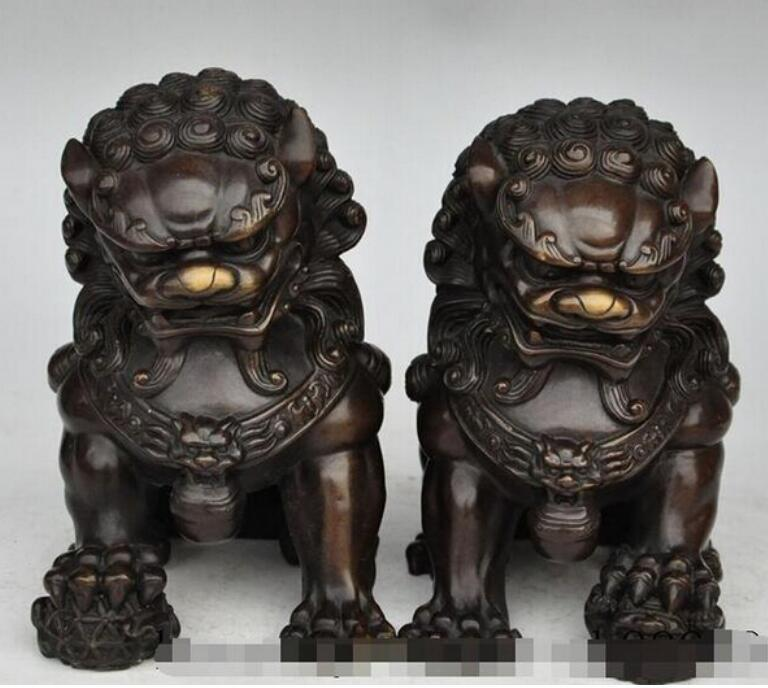 NEW+ +china bronze foo dog lion beast ball town house evil spirits lucky statue pair