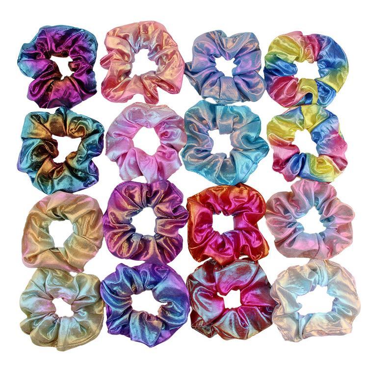 Fashion Women Colorful Bronzing Elastic Hair Rope Glitter Ponytail Holder Hair Ring Accessories Summer Girls Scrunchies Headwear