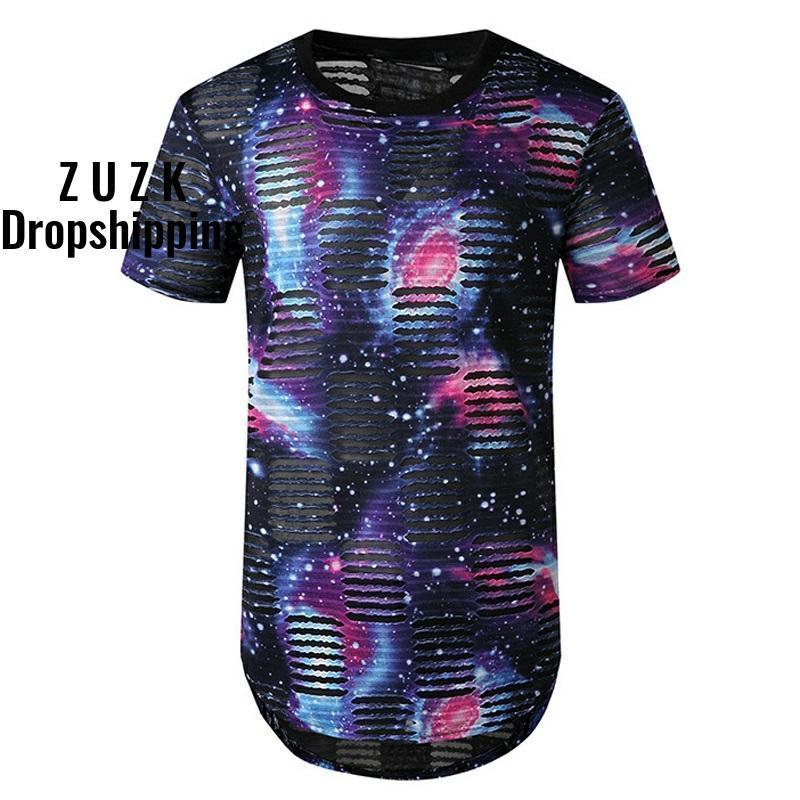 ZUZK рваные длинная футболка мужчины лето с коротким рукавом мода печатных футболку мужчины хип-хоп удлиненные футболки рукавами 2XL с