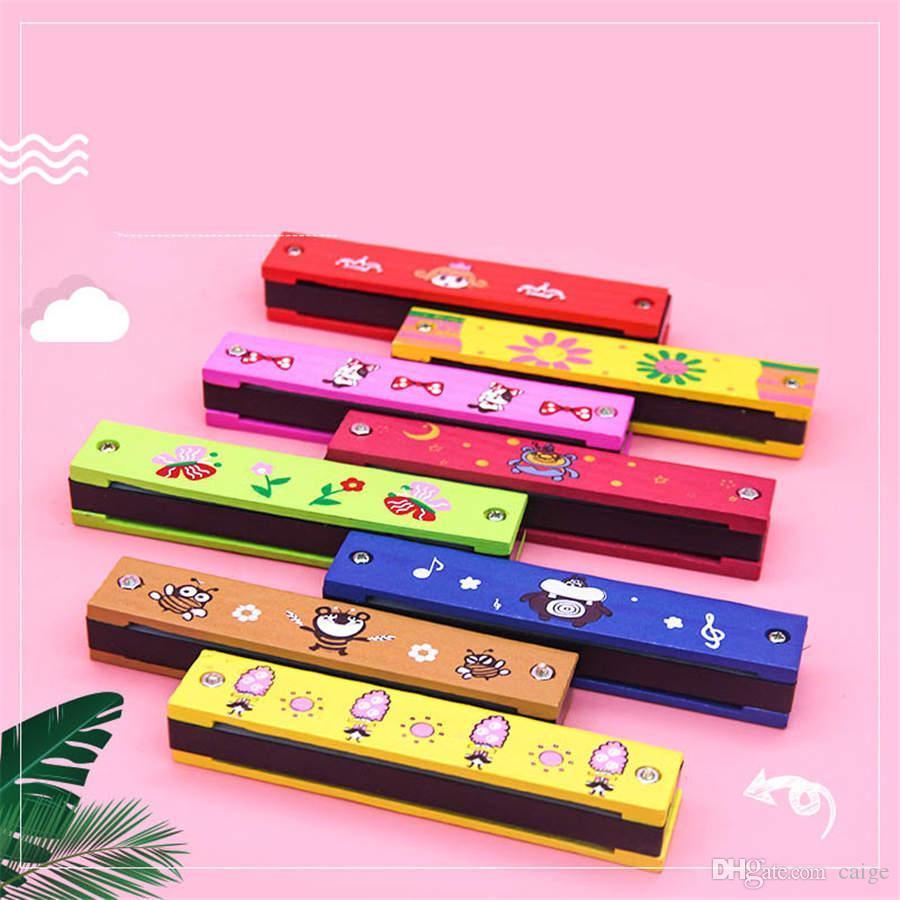 Ahşap karikatür 16 delikli çift sıra armonika toptan çocuk ahşap bulmaca müzikal oyuncaklar ücretsiz nakliye DHL