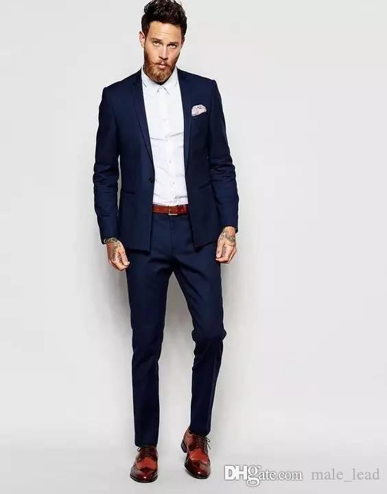 Yakışıklı Groomsmen Notch Yaka Damat smokin Mens Gelinlik Man Ceket Blazer Prom Akşam 2 Adet Suit (Ceket + Pantolon + Kravat) A181