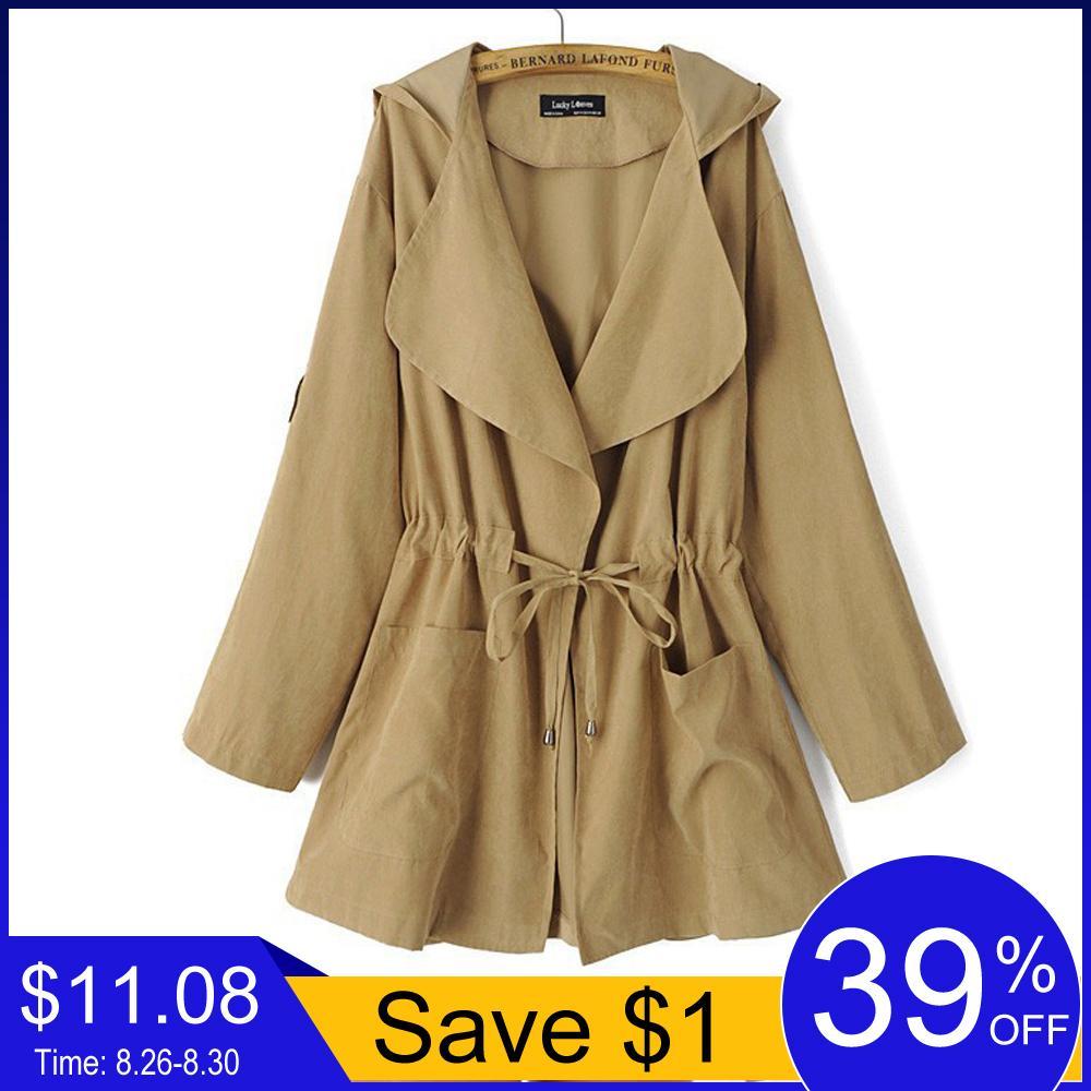 Jocoo Jolee Nuevo 2018 Mujeres Jack Costo capucha otoño chaqueta de la capa ocasional de la cintura elástico de bolsillo Kimono femenino flojo