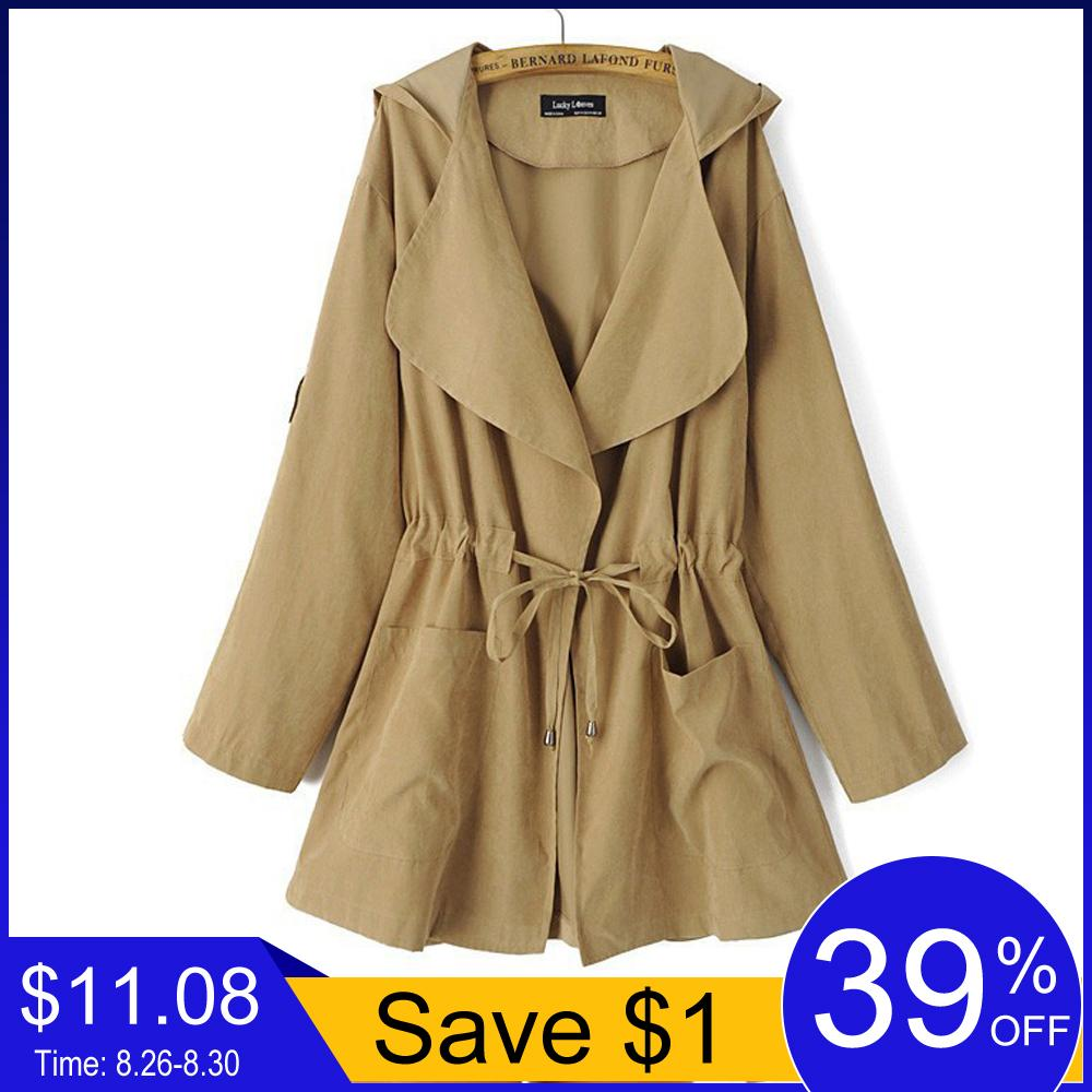 Jocoo Jolee New 2018 Women Jack Cost Autumn Hooded Coat Jacket Casual Elastic Waist Pocket Kimono Female Loose