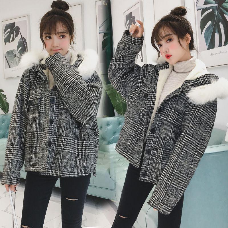 Thick Winter Jacket Women Lattice Warm Hooded Coat Nice New Slim Short Clothing Long Sleeve Coat Female Autumn Outerwear T191030