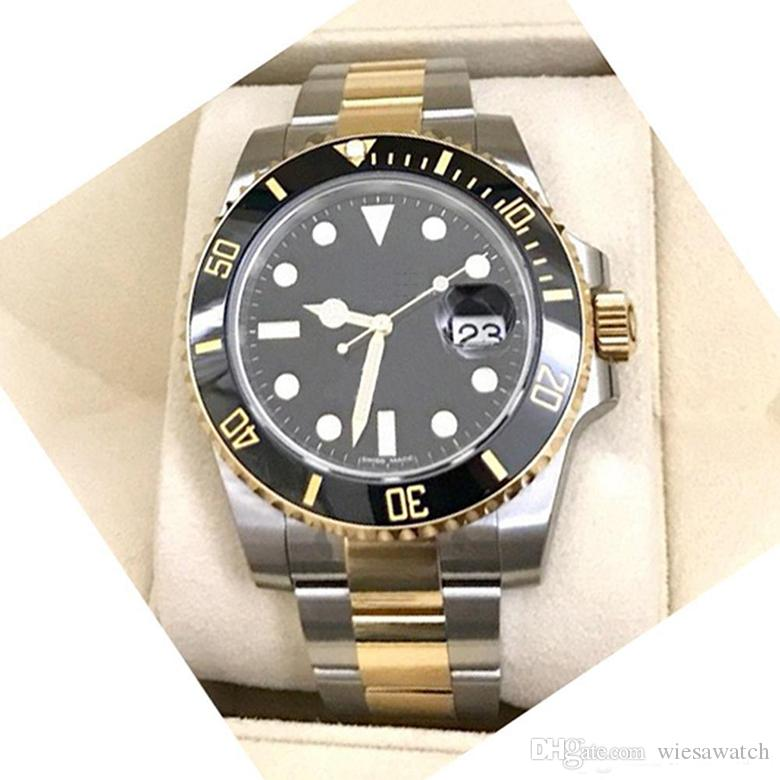 고전 GD2813 자동 무브먼트 사파이어 루미 너스 블랙 다이얼 40MM 날짜 남성 시계 시계 회전 베젤 세라믹 베젤 두 톤 손목 시계