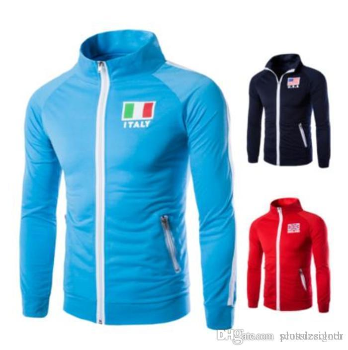 Mens Sports Designer cor sólida Bandeira Jackets Imprimir cor sólida Zipper bolso Homme Vestuário Moda Estilo Jogging Casual Vestuário