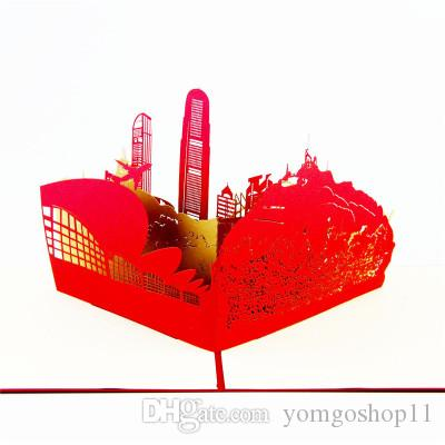 3D Stereo Greeting Card Hong Kong Tourist Scenery Handmade Paper-cut Carved Postcards Customized Wholesale Hollow-out Small Cards