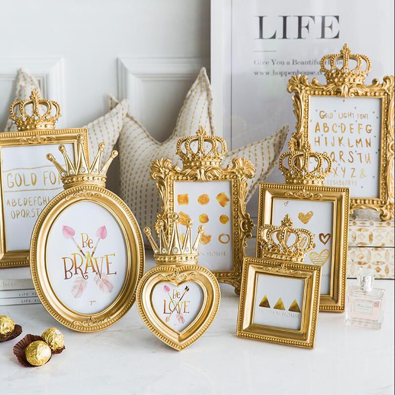 Luxo Barroco Gold Crown Decor criativa Resina Imagem desktop Frame Frame Foto Presente Decoração de casamento