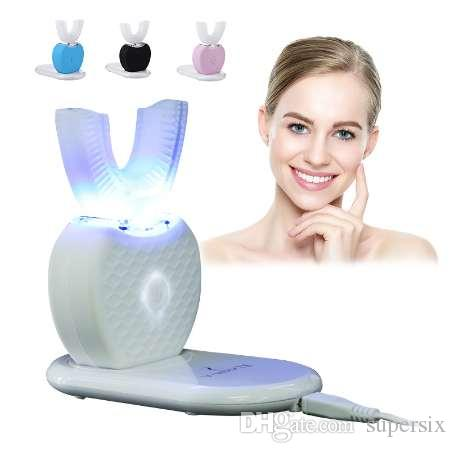 Spazzolino elettrico a ultrasuoni a forma di U di 360 gradi Carica wireless a mani libere USB Denti puliti Massaggio Sbiancamento