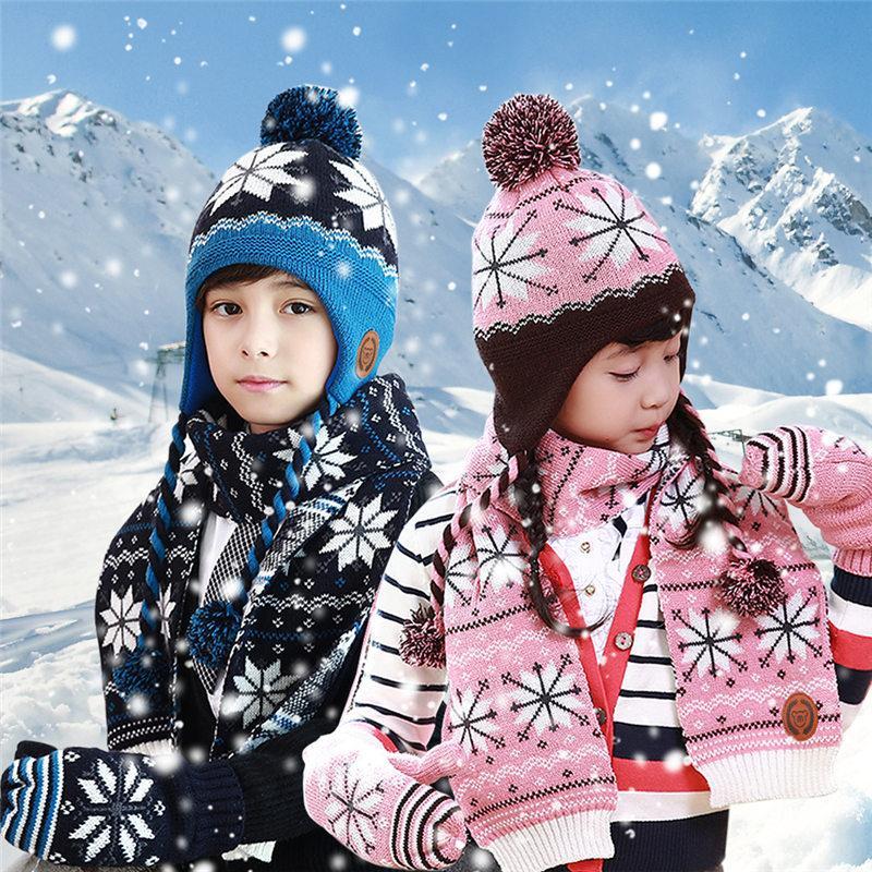 Новый рождественский шарф шляпа перчатки наборы для детей Рождество Лось Снежинка теплые наборы студент акриловые теплый трехсекционный U3