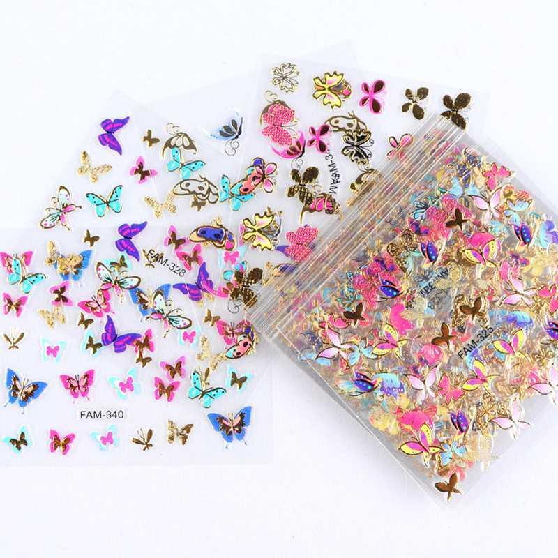 Nail 30pcs Oro Argento 3D Art Sticker Hollow decalcomanie disegni misti di carta adesivo fiore del chiodo di punte Lettera farfalla