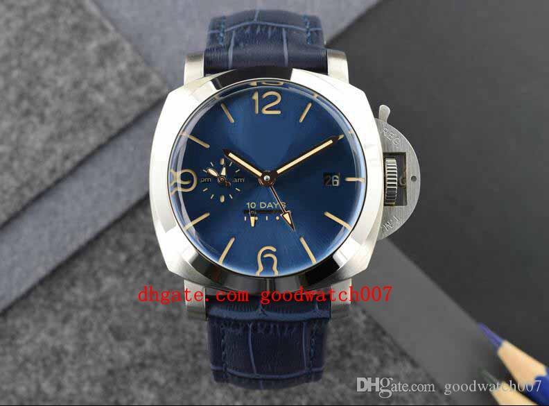 Männer GMT 10 TAGE Bewegung Stromsparband blau Leder Counterclockwise Handaufzug Bewegung Tauchen Fashion 9015 Sportuhren
