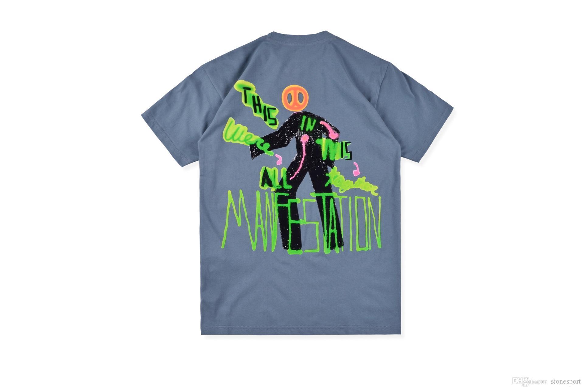 Трэвис Скотт Astroworld серая рубашка рэп-тур граффити ручная роспись с коротким рукавом мужская футболка Tee S-XL высокое качество