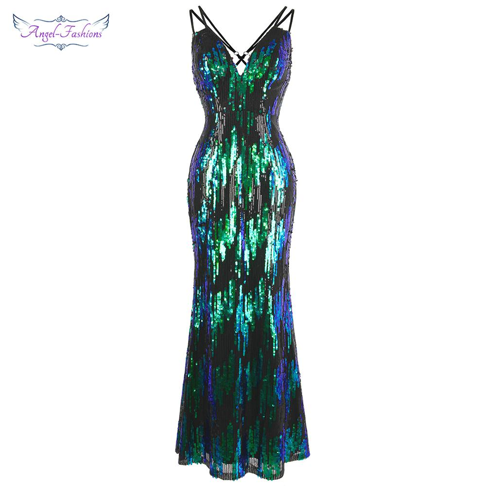 Angel-fashions Women's Spaghetti Strap V Neck Pattern Sequin Evening Dress Backless Vintage Long Mermaid Prom Green W-190517-S