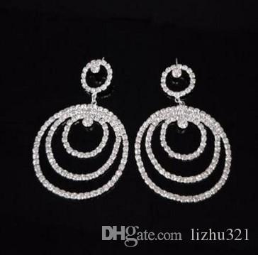 3pairs/lots fashion low pirce high quality diamond crystal End-customized zircon-drilled 925 silver lady's circles earings