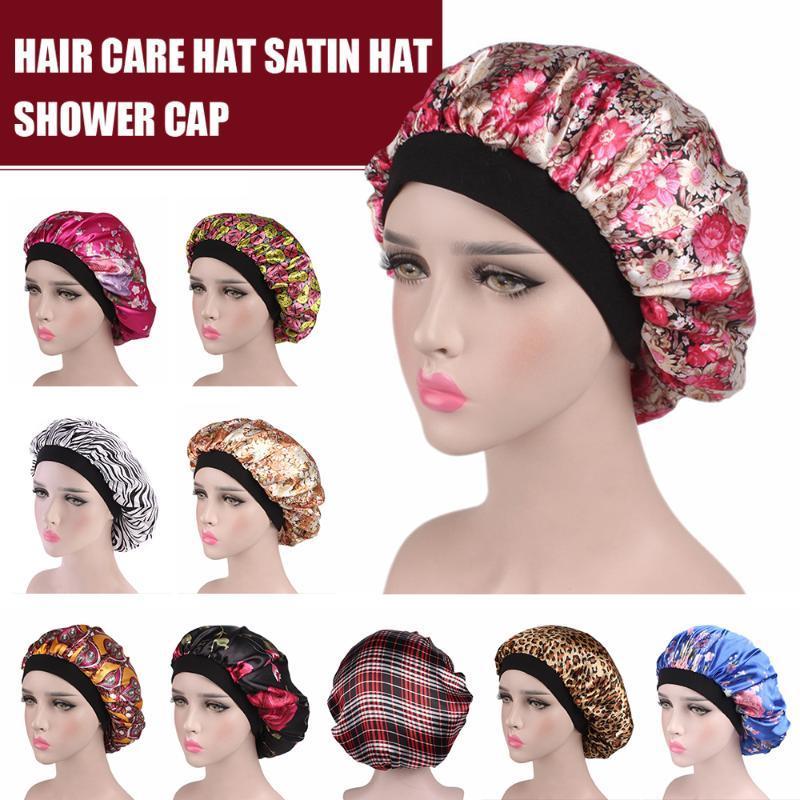 Волосы сатин Bonnet Для Спящий шапочка для душа Шелк Bonnet Femme женщин Ночной сон Cap Крышка головки широкой резинкой