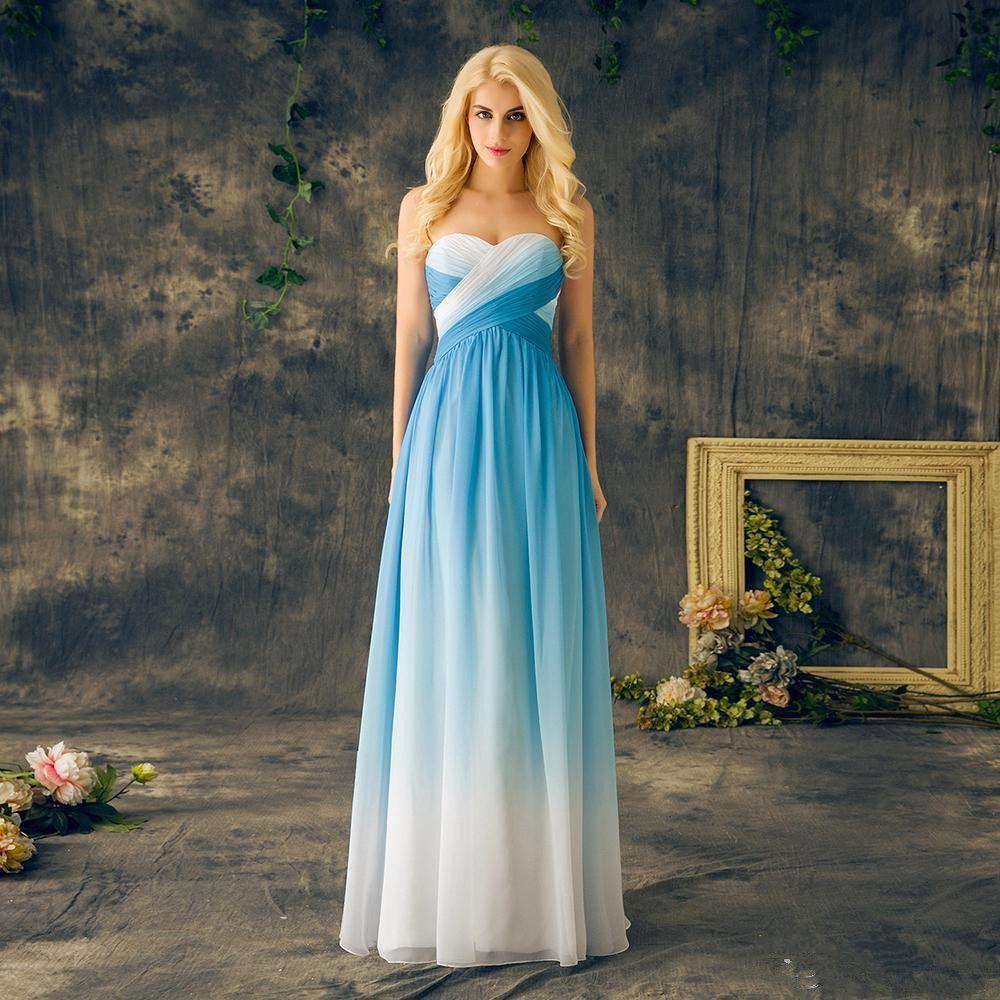 블루 선염 파티 드레스 연인 쉬폰 레이스 위로 긴 바닥 길이 그라데이션 이브닝 파티 드레스 졸업 가운 사용자 정의 만든