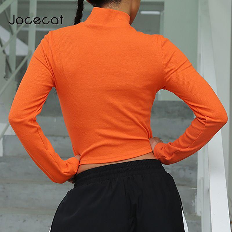 Crop Top de manga larga T-shirt Mujeres Orange atractivo de Corea de la manera tapas Otoño 2020 de punto de cuello alto camiseta