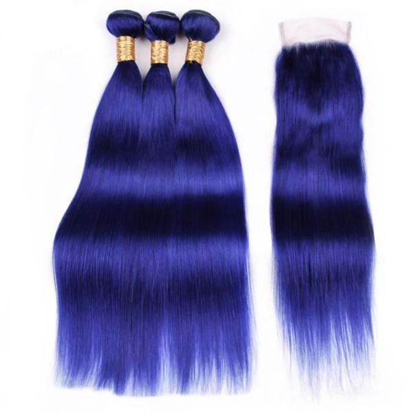 Straight Pre Dyed Blue Remy Human Hair Weave Weft 3 Weaving Bundles With 4X4 Lace Closure Free Shipping