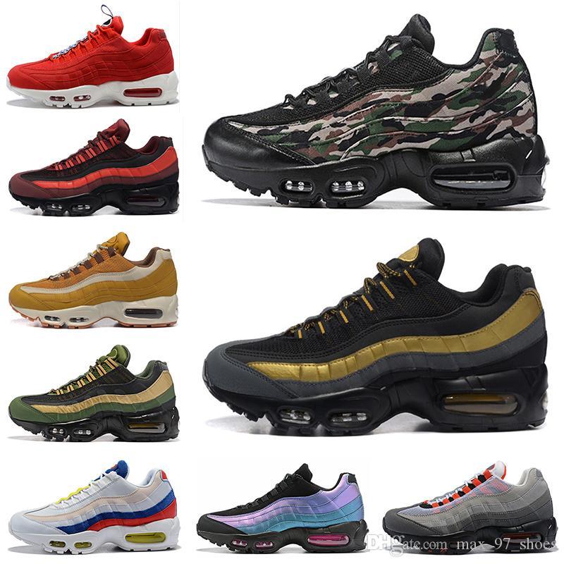 Nike Air Max 95 Discount 2020 Chaussures de course TT Hommes Femmes militaire Vert Forêt Laser Fuchsia Chaussures entraîneur des hommes de sport Chaussures de sport Taille 36-46