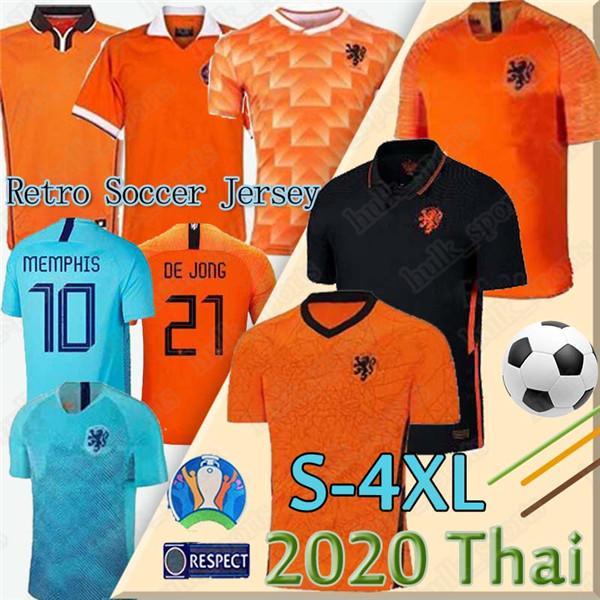 20 21 Países Baixos retro camisas de futebol DE JONG Wijnaldum Holanda Virgílio 1988 Holanda Strootman MEMPHIS S-4XL camisas de futebol uniforme