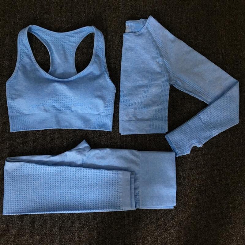 2020 женщины бесшовные йога комплект фитнес спортивные костюмы тренажерный зал ткань Йога с длинным рукавом рубашки Высокая Талия бег леггинсы тренировки одежда V200415