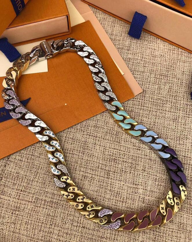 الهيب هوب نمط رجل 316L التيتانيوم الصلب قلادة سلاسل روابط البقع أنقش أربع أوراق زهرة ملونة المينا 18K الذهب أساور مجوهرات