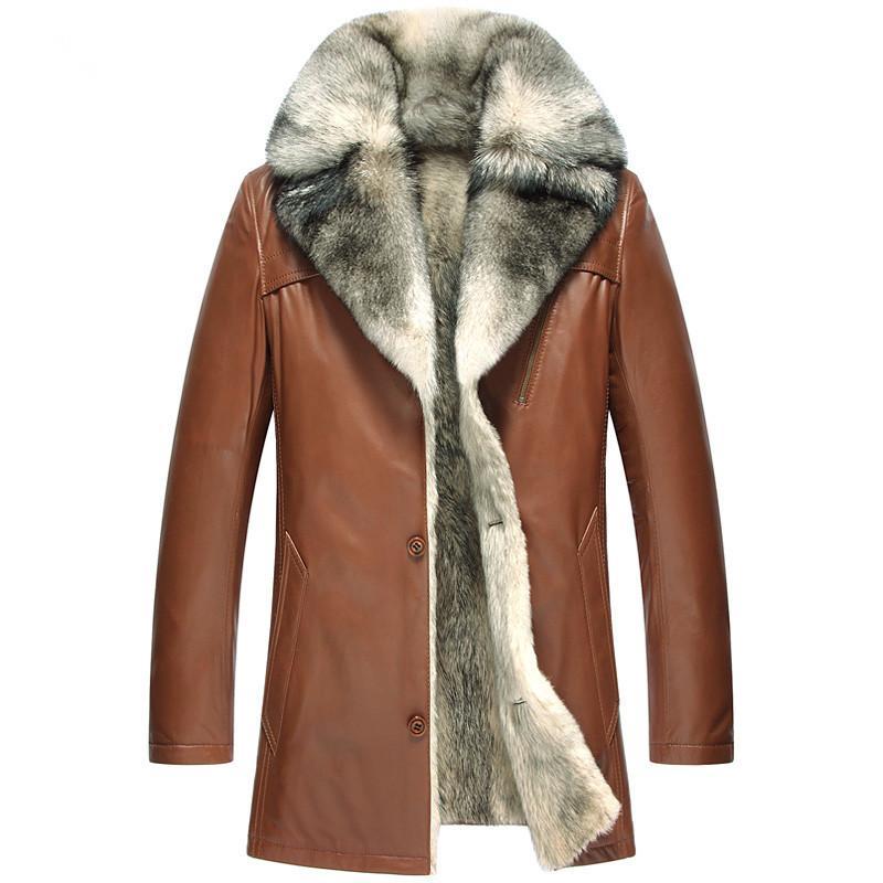 5051 5XL Gerçek Deri Ceket Kış Ceket Erkekler Gerçek Kurt Kürk Liner koyun postu Coat Erkekler Elbise 2019 Sıcak Kürk Ceket Plus Size