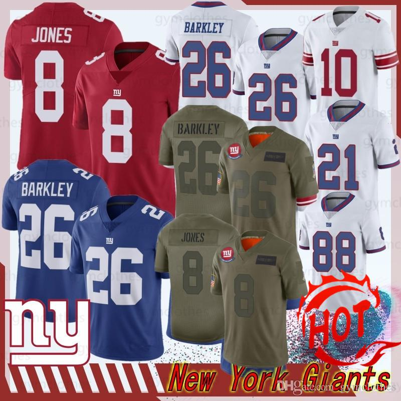 26 Saquon Barkley Nova Jersey Iorque 8 Daniel Jones gigante Equipamentos 10 Eli Manning 88 Evan Engrama 2020 Nova Jersey futebol 21 Collins