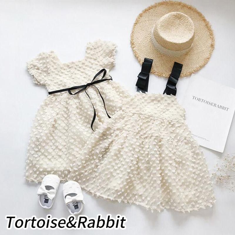 Fashion Girls Princess Dress Solid Polka Dot Designed Summer Sling Vestidos Short Sleeve Kids Clothes for Birthday wedding Party