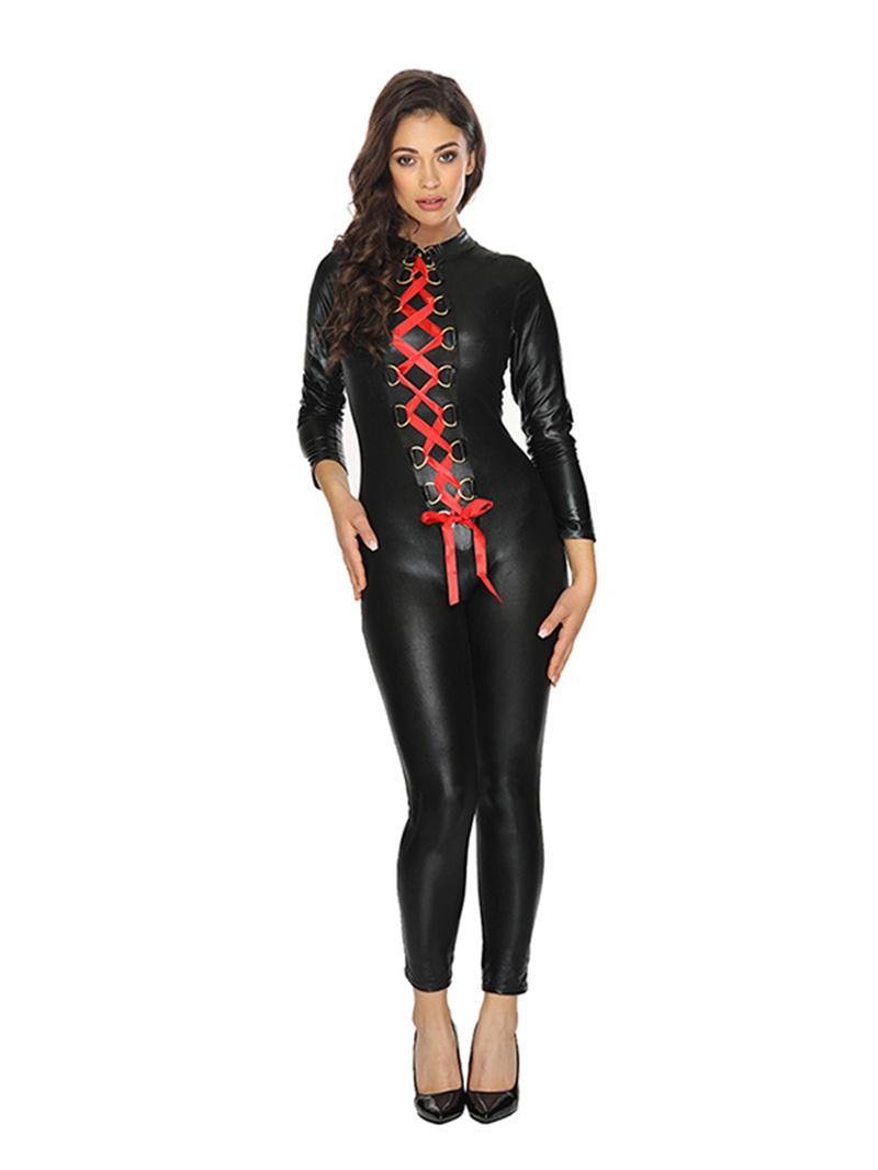 2020 Mujeres de PVC Zantai Negro de dos vías con cordones de cuero de imitación Body Catsuit del traje atractivo mojado vinilo de la mirada del mono