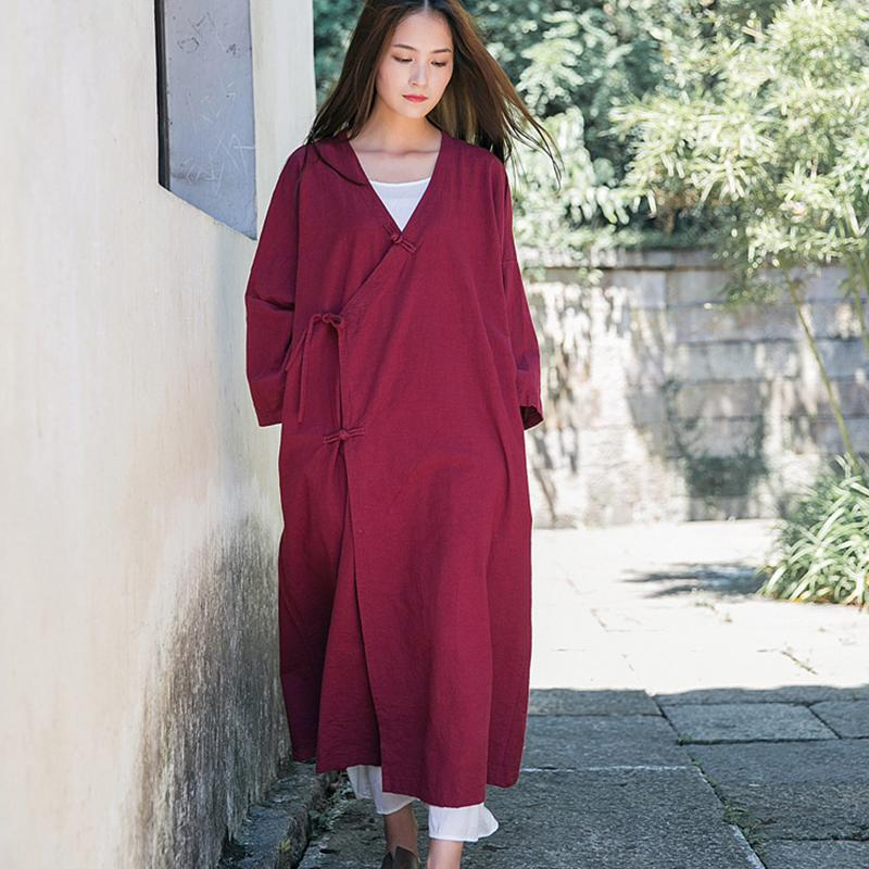 Cardigan Women Solid Color Cotton Linen Vintage Plate Buttons Long Sleeve Female Clothes Casual Women Long Tops