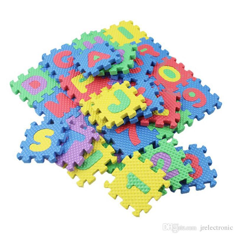 36 adet / takım Çocuk Alfabe Harfleri Rakamları Bulmaca Renkli Çocuklar Halı Oyun Mat Yumuşak Zemin Tarama Bulmaca Çocuk Eğitici Oyuncaklar