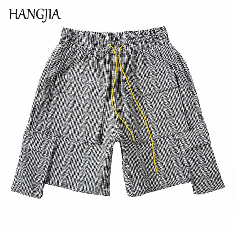 British Short Houndstooth Hommes Vintage Multi-poches mode camouflage Cargo Shorts 2019 sélectionl Casual