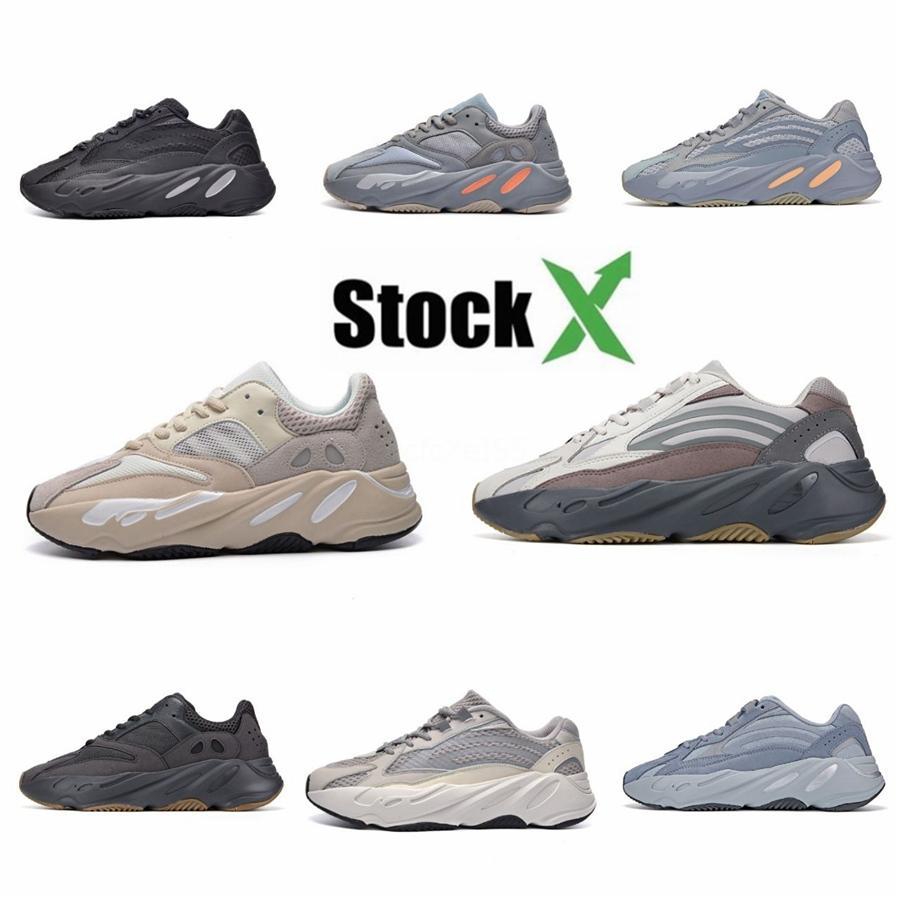 Yardımcı Siyah 700 V2 Kanye West Geode Statik Erkekler Ayakkabı Vanta Atalet Runner Dalga Katı Gri Kadınlar Spor Sneakers Bize 5-11,5 # QA380 Running