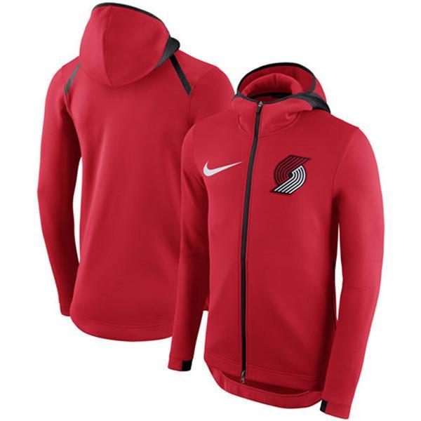 2020 Men's PortlandTrailBlazersRed Showtime Therma Flex Performance Full Hoodie Outdoor sport Jacket