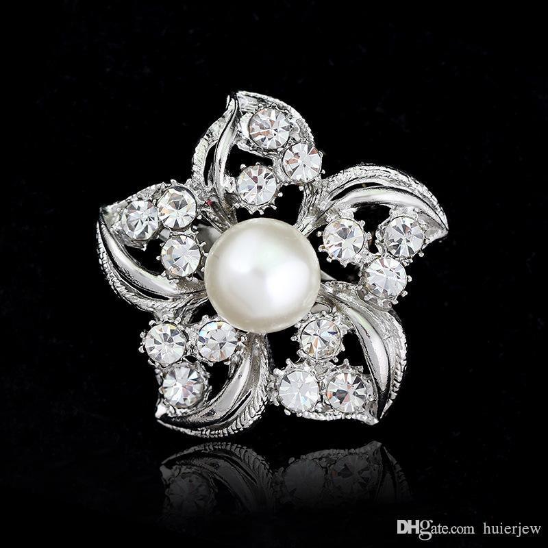Broche para mujer Broches de boda Broche de diamantes de imitación vintage Broche de plata de cristal transparente Broches navideños de plata