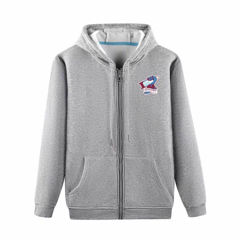 2020 Scunthorpe United Boutique Veste Manteau de luxe Sweat à capuche à manches longues automne sport Fermeture à glissière Marque manteau coupe-vent de football