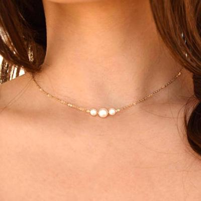 Hot Simple Imitation Pearls Choker Necklaces Wedding Bride Jewelry Women's Gold Chocker Necklace Female Party Gift N55