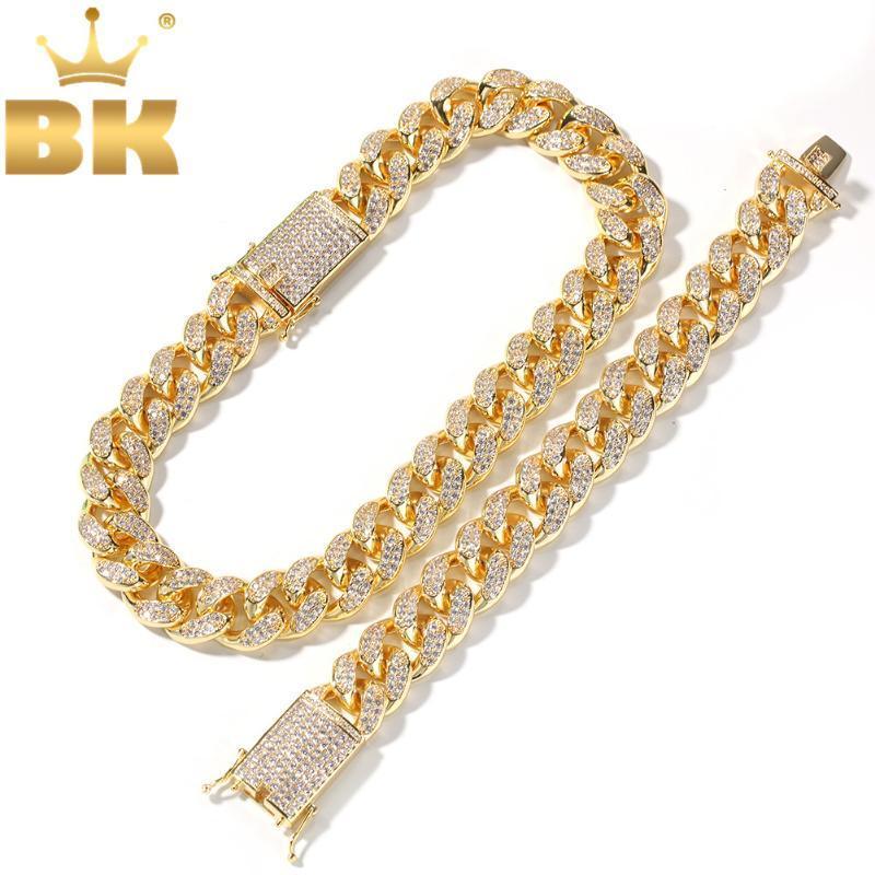 EL BLING KING 20mm Cubic Zirconia Cadenas Cuban Link, pulseras de joyería determinada de la manera de Hiphop heló hacia fuera el collar para los hombres