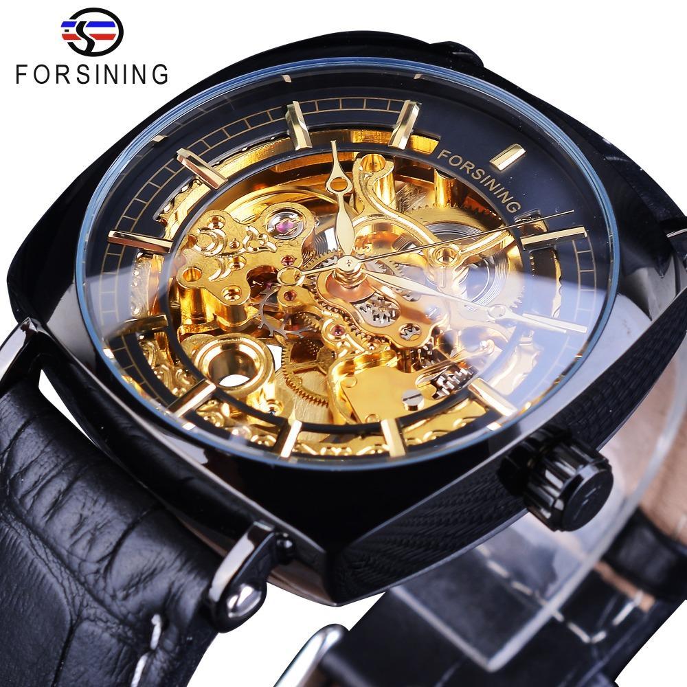 Forsining Mens Golden Gear Movement Black Unique Square Dial Mens Mechanical Skeleton Wrist Watches Top Brand Luxury Male Clock