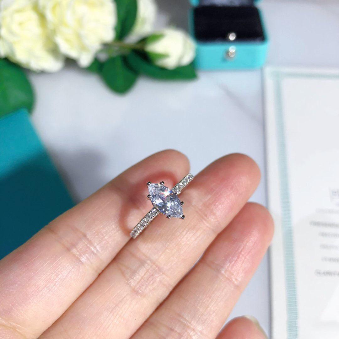 Designer Ringe S925 Sterling-Silber überzogene Frauen-Diamant-Ringe Weiseluxuxfrauen Trauringe Luxus Designer Schmucksachen Verschiffen frei
