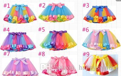 MQ1pcs Niños Falda Chica Rainbow Grenadine Tutu Niños Baile Falda Traje Bubble Skirt Epacket
