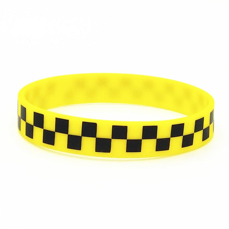 1PC Printed Checkered Plaid Silicone Wristband Punk Style Hip Hop Band Bracelets&Bangles Perfect For Music Fans Lover Gift SH302