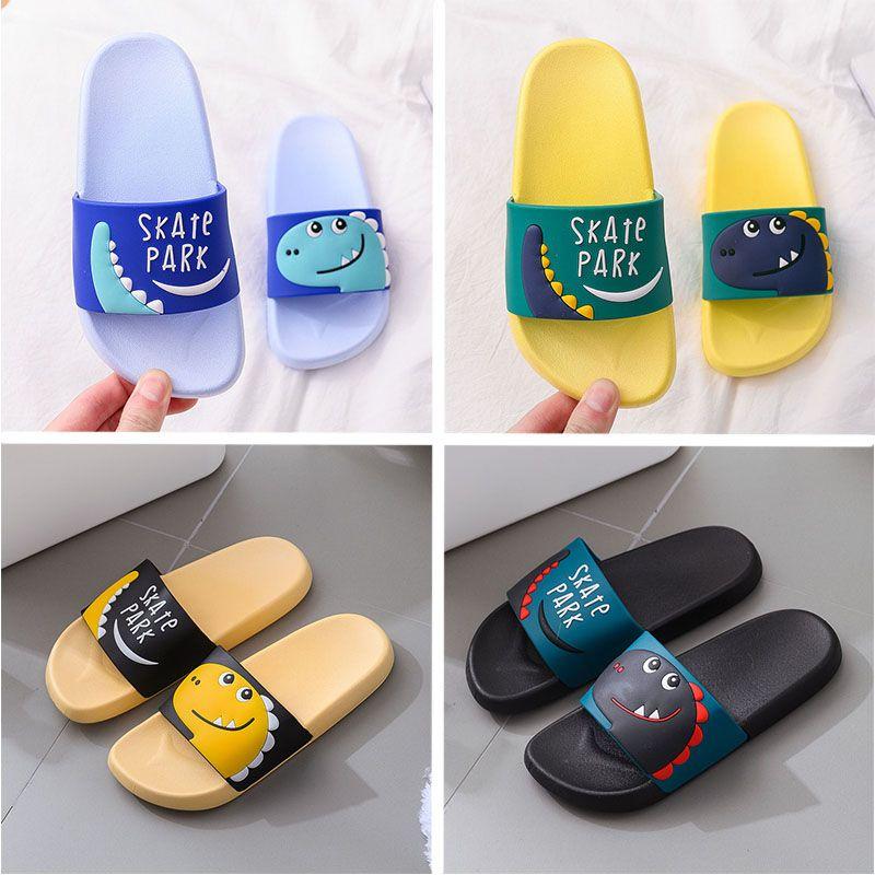 Children Cartoon Slippers For Summer Blue Black Yellow Pink Women Men Indoor Bathroom Shoes flip flops anti slip Kids Shoes