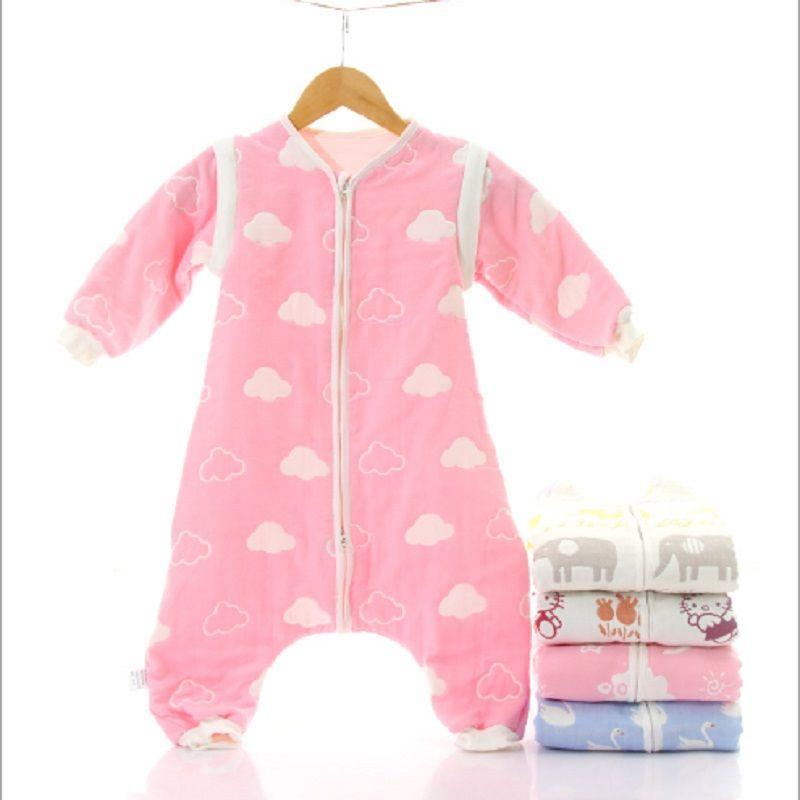 Sac de couchage pour bébé Muslin hiver 6 couches de coton à manches longues pour enfants Sleepware 0-5 ans Enfants Cotton SleepSack bébé