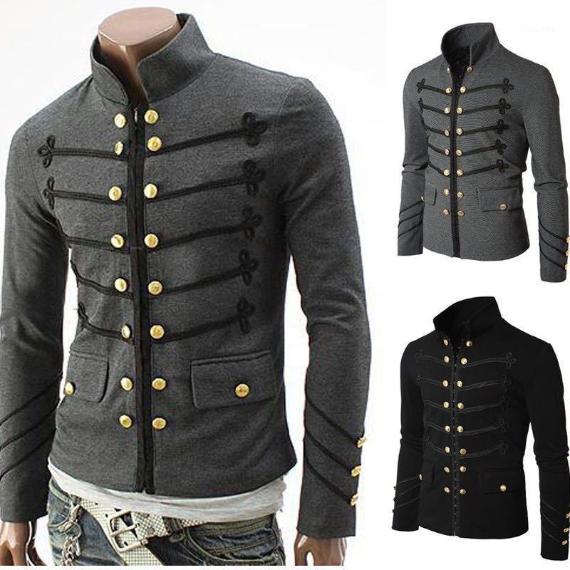Мужские куртки ретро мода пальто вышитая кнопка сплошной цвет мужская куртка кардиган золото с длинным рукавом большой размер1