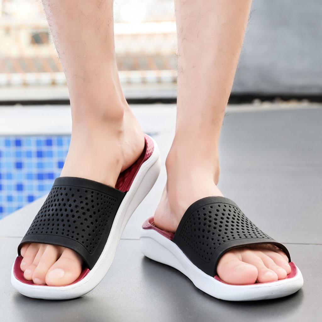SUMMER Men/'s Flat Heel Shoes Casual Sandals Beach Hollow Out Flip Flops Slippers